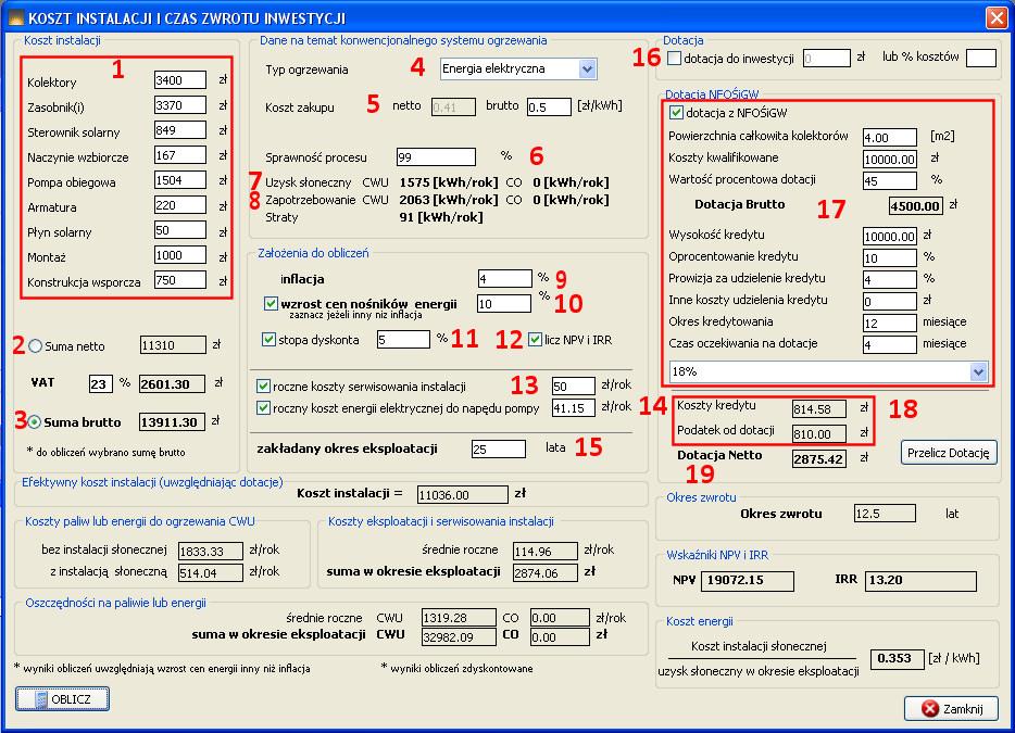 kalkulator ekonomiczny kolektorek 2.11